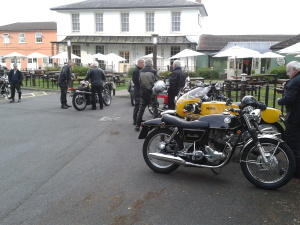 Gathering for the off with tummies rumbling louder than the bikes